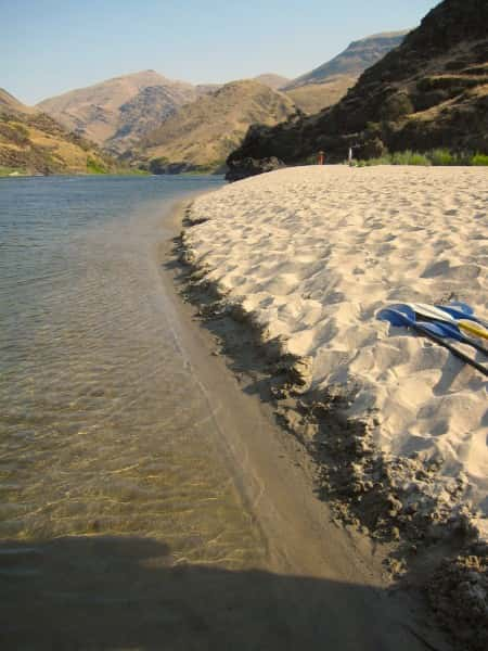 """While dozens of """"island"""" sand bars line the Salmon River, Billy Bar is particularly perfect for a beach day on the water."""