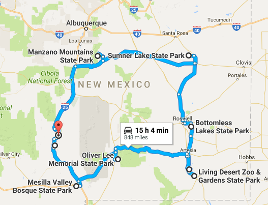 An Amazing Road Trip Through New Mexico State Parks - New mexico state map