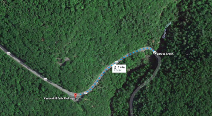 From where you'll park right off of NYS Route 23A, you'll have a short walk to the trailhead.