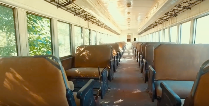 A drone peers into every crevice of the trains, including their beautiful preserved passenger cars.