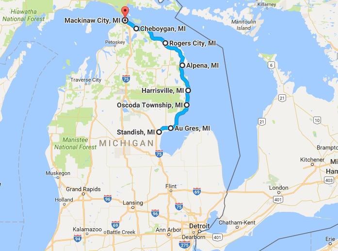 The Most Scenic Road Trip Along Michigans Sunrise Coast - Michigan coastline map