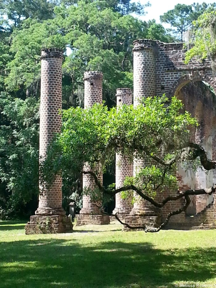 The grounds include the ruins of the church, a historic old cemetery, large live oak trees with lots of Spanish moss and  a great opportunity for a picnic in the shade.