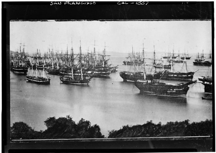 After arriving in San Francisco, many abandoned their ships, letting them rot in the bay as they headed off to seek their treasure.