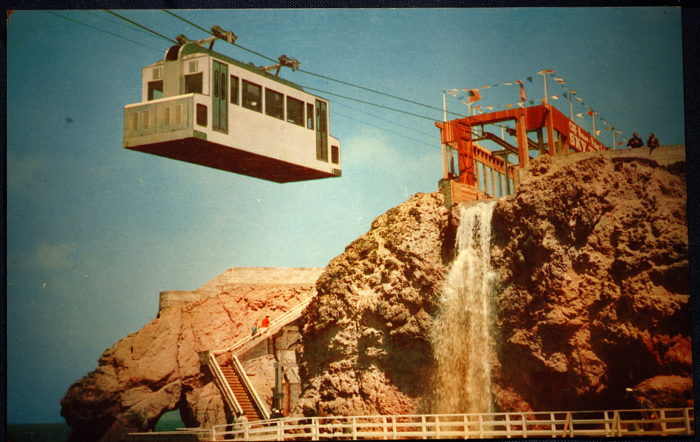 Between 1955 and 1961, this Sky Tram took passengers along a scenic ride from the Cliff House, across the Sutro Baths to Point Lobos.