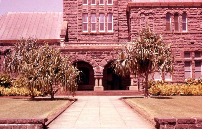 4. This close-up of shot of the Bernice P. Bishop Museum was taken in 1957.
