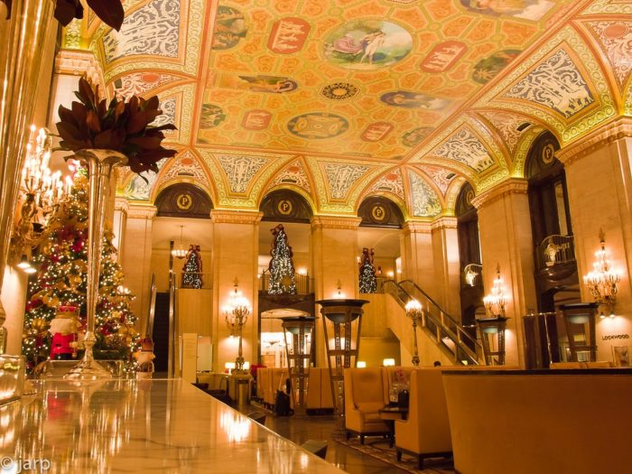 Enjoy the gilded lobby with a formal staircase.