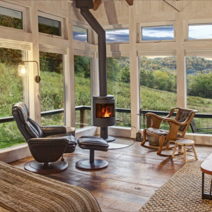 The interior is incredibly warm and inviting, allowing you to take in the countryside.