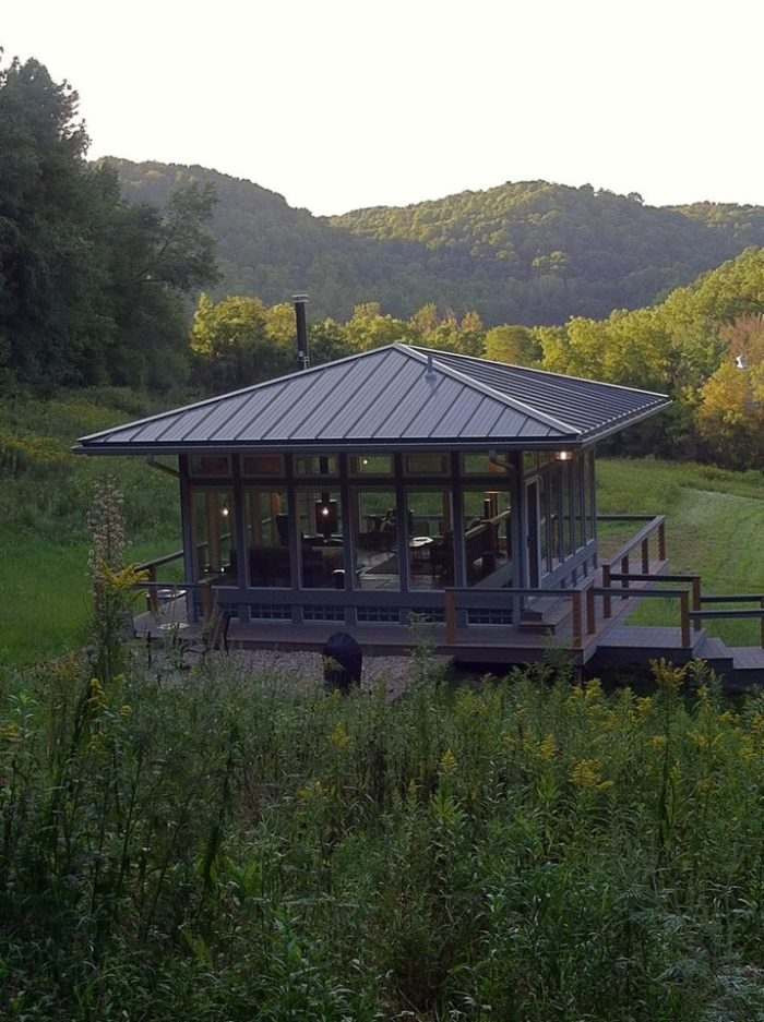 Here is a view of the cabin, seemingly all by itself in nature.