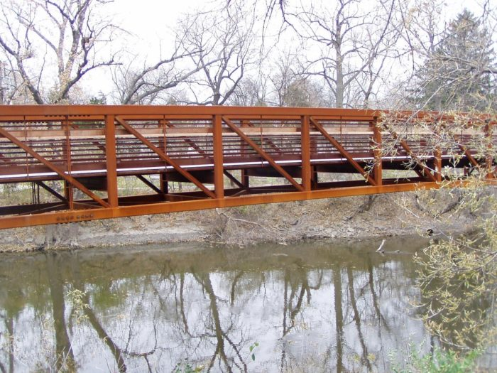 7. A few bridges are on this trail: one over a railroad, and the other, seen here, over the Des Plaines River.