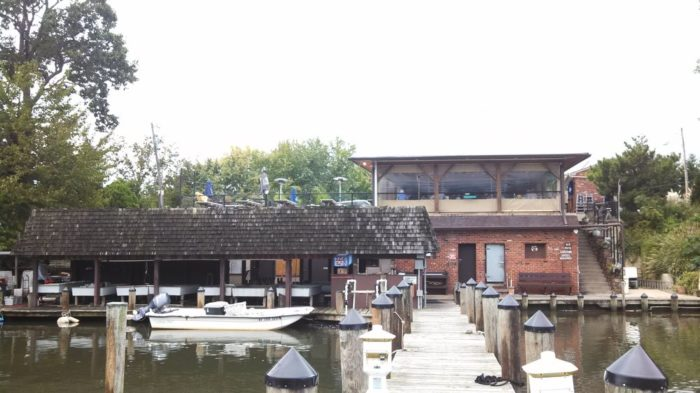 With a secluded location, steamed crabs, water views, and a pull-up dock, this restaurant is a true-blue Maryland gem.