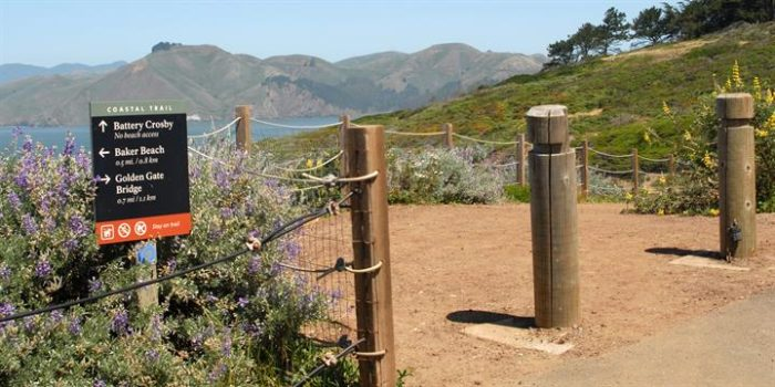 At the top, travel north on the California Coastal Trail.