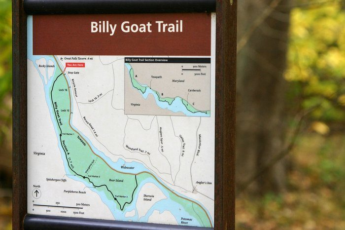 The Billy Goat Trail starts off a flat walk on the footbridge and takes you across a towpath.