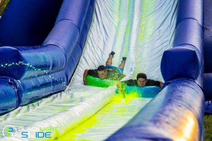 In the daytime, it looks like an ordinary blow-up slide...