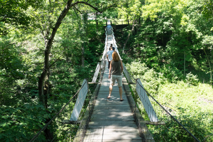 Legend has it that a young Native-American threw herself from the original bridge into the ravine below, killing herself. She was heartbroken because her lover had died in battle.