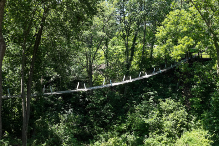 Are you adventurous enough to visit the bridge and walk the length of the swinging bridge over the haunted ravine?
