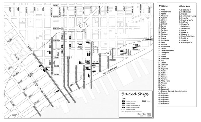 As the city grew even more, most of the abandoned ships were repurposed for stores, saloons, and hotels. But some were left to sink or simply be built on top of. This map from SFGenealogy plots out the areas where buried ships have been discovered and are thought to possibly be.