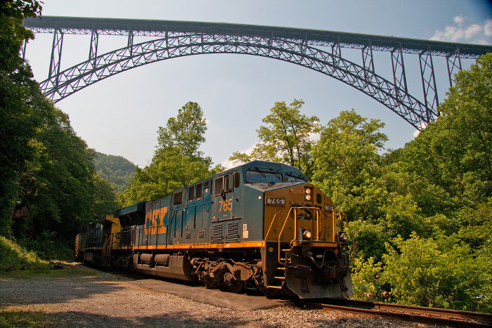 The CSX railroad travels along the bottom of the gorge.