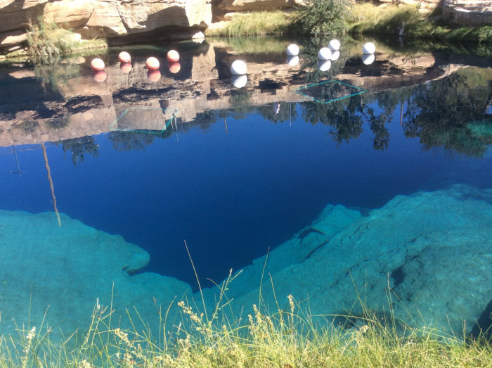 The Blue Hole is an oasis in Santa Rosa, on the eastern side of the state.
