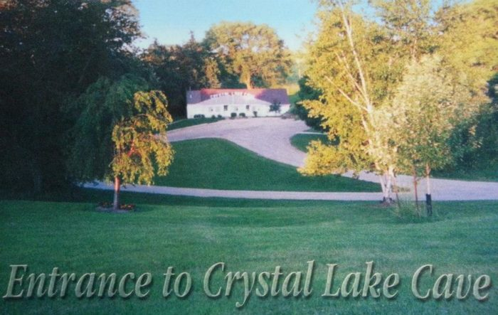 Crystal Lake Cave was discovered in 1868 by a lead ore miner named James Rice.
