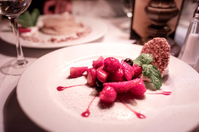 Save room for dessert, like this Berry Napoleon, which combines mixed berries with raspberry sauce, hazelnut tuiles, and mascarpone creme.