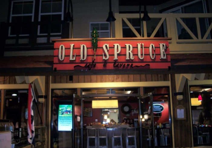 Have dinner at the Old Spruce Cafe and Tavern.
