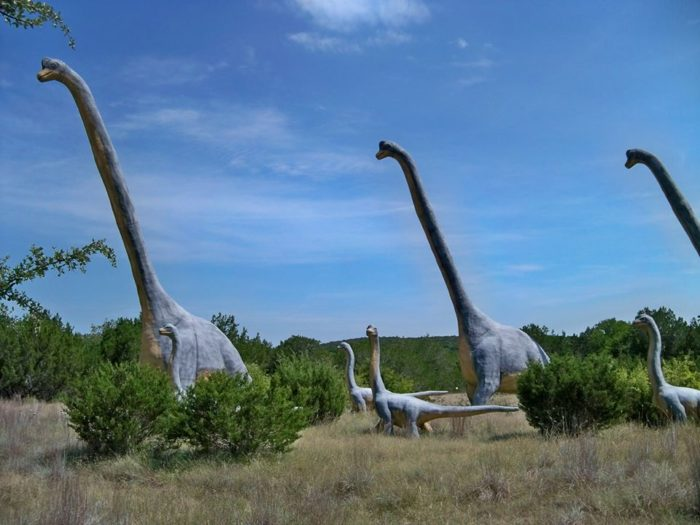 You'll truly feel like you've traveled back to prehistoric times as you walk through a field with over 150 life-sized dinosaur statues.