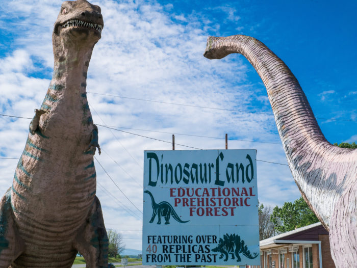 Dinosaur Land is located at 3848 Stonewall Jackson Hwy., White Post, VA. It costs $6 for adults and $5 for children under 11.