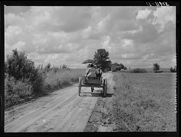 13. A simple dirt road leading in and out of town.