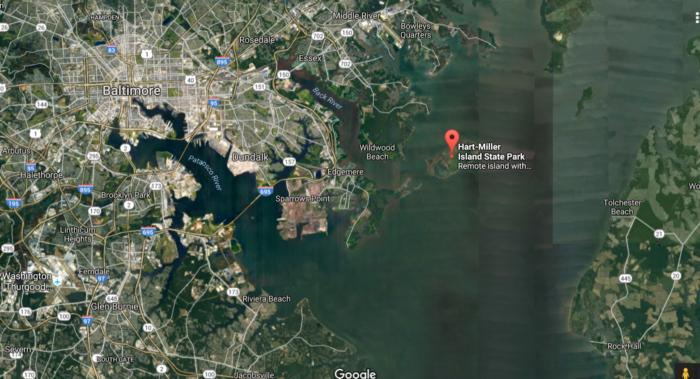 Hart-Miller Island is an uninhabited island not too far from Baltimore.