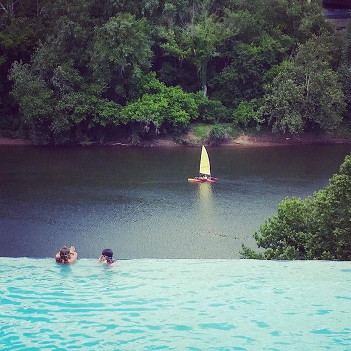 The pool dangles 101 feet above the Potomac.