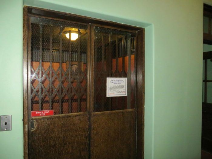 One of the creepiest parts of the Jerome Grand Hotel? The historic self service elevator.