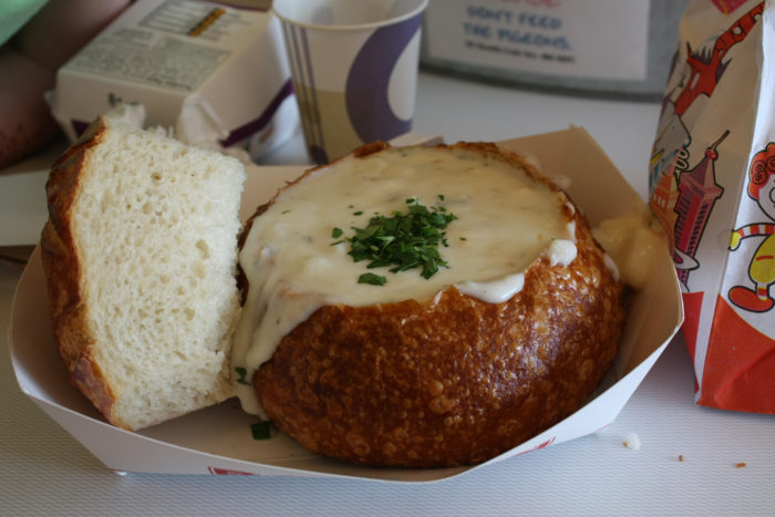 3. Clam chowder in a sour dough bread bowl.