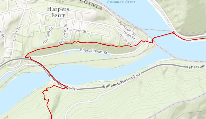 The West Virginia portion of the Appalachian Trail runs through the historic town of Harpers Ferry.
