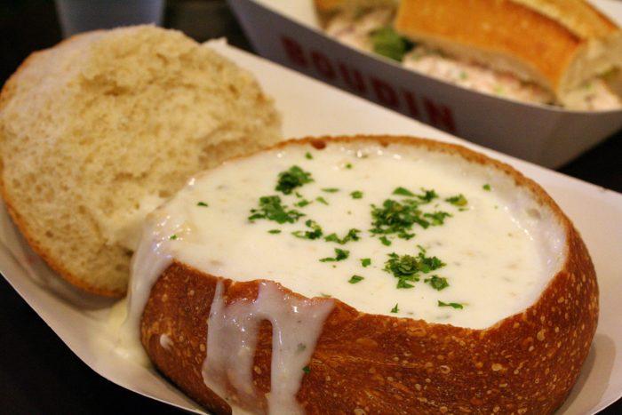 2. Clam Chowder in a Sour Dough Bread Bowl