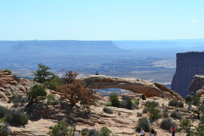 Mesa Arch spans about 50 feet. It's perched on the very edge of an amazing canyon - it's about 500 feet to the valley below.