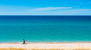 We hiked along the beach for a few mile between the trail over the dunes and Sleeping Bear Dunes Point to the North.