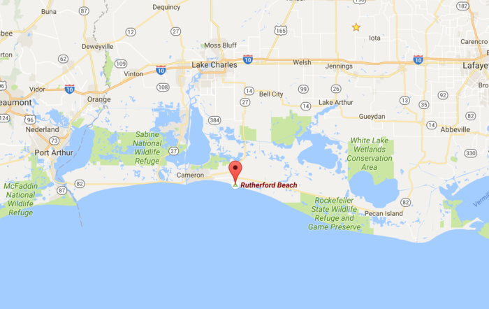 Rutherford beach can be found just south of Lake Charles, along Hwy 82 in Cameron, LA.
