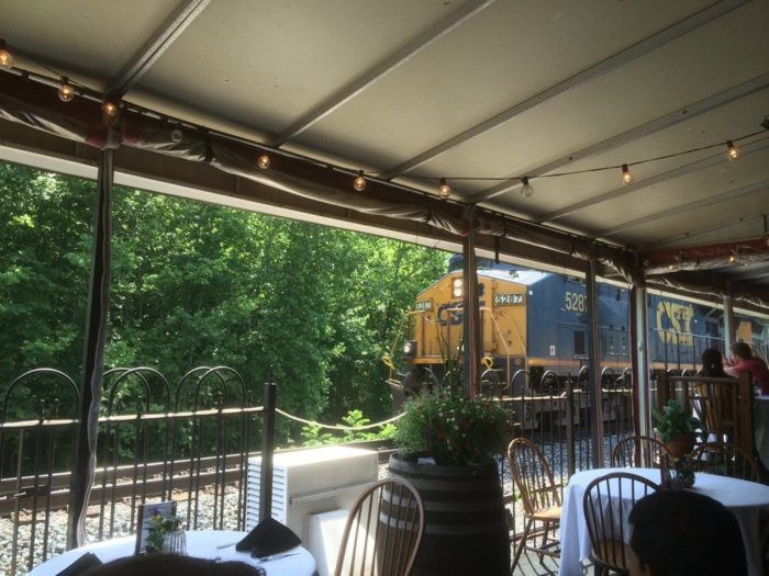 The most impressive part of this restaurant is the patio. Sit outdoors and watch trains travel by as you enjoy your meal.