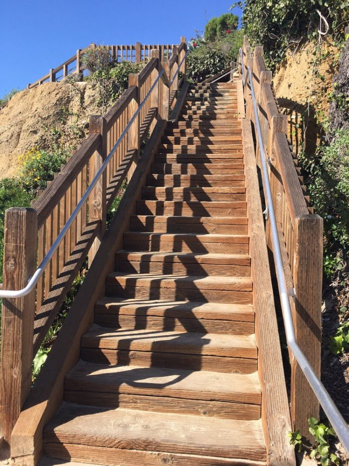 There are several stairways that will take you down to Treasure Island Beach.