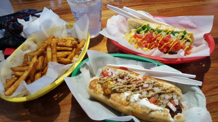7. Alligator Hot Dog with Crawfish Etouffee, Sour Cream, and Creole Mustard, Dat Dog, Multiple Locations