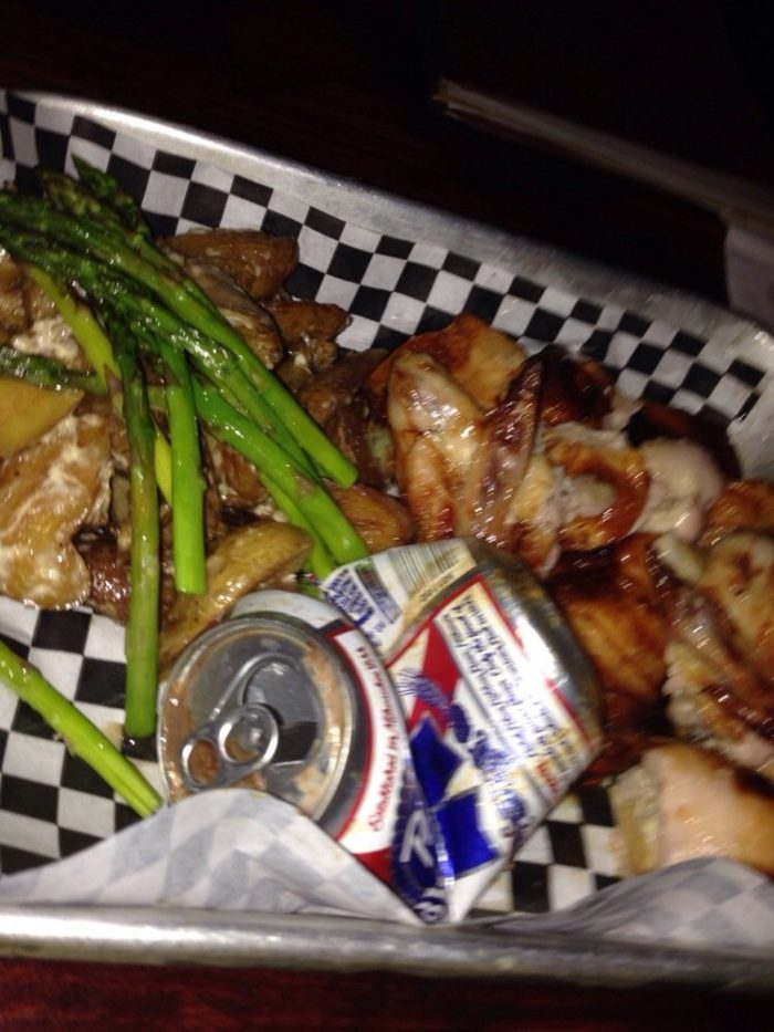 The food is not your run-of-the-mill bar fare - it's definitely unique. When you order the Beer Can Chicken, it comes with what's left of the beer can.