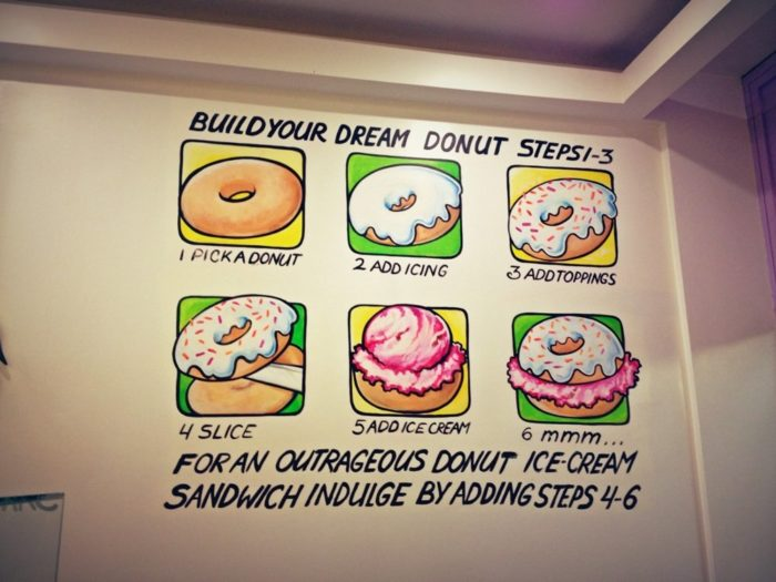 Walk through the doors of Holey Cream and you'll immediately see what's pictured below, painted up on the wall.