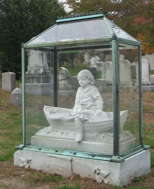 "One popular memorial is the lovely ""Boy in the Boat"" sculpture. It is a headstone for a young child."