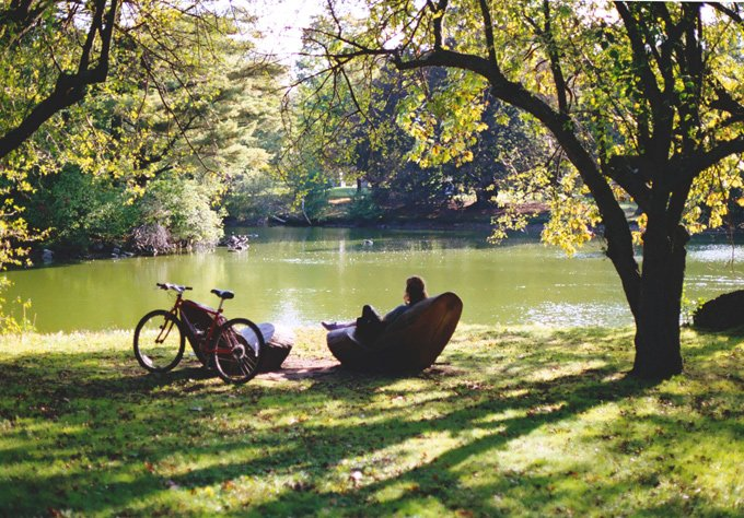 There are a few seating areas around the pond where you can curl up with a good book, or watch the sun play on the water.