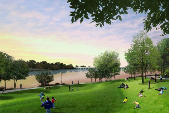 There will be plenty of wide open spaces at The Gathering Place. Lakeview Lawn will offer a beautiful landscape to enjoy the views of the river, connect to the trails or relax and watch a magical Oklahoma sunset.