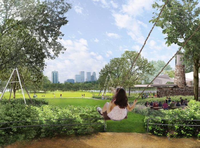 Swing Hill will be set at the highest point in the park and offer stunning views of the whole park and downtown Tulsa.