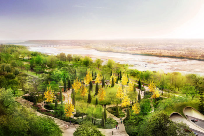 A Gathering Place for Tulsa is the largest private gift to a public park in U.S. history. It is a project from the George Kaiser Family Foundation.