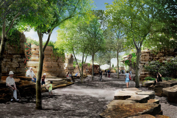 The natural rock formations will be the feature within the Four Seasons Gardens. The area will be full of shade and sitting areas.