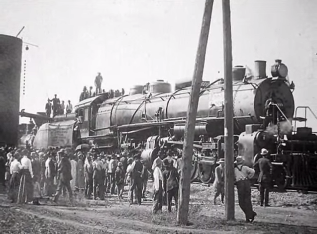 Skedee also had a large railroad yard. The locomotive shown below was the largest in the world at the time.  This photo was taken in Skedee on its inaugural run to Iowa.