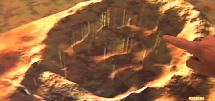 Here is a graphic of what the crater looked like before it was covered with sediment.